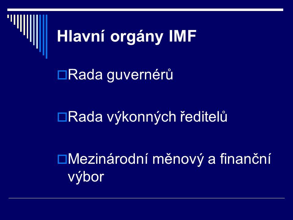 Hlavní orgány IMF Rada guvernérů Rada výkonných ředitelů