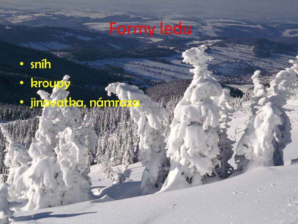 Formy ledu sníh kroupy jinovatka, námraza