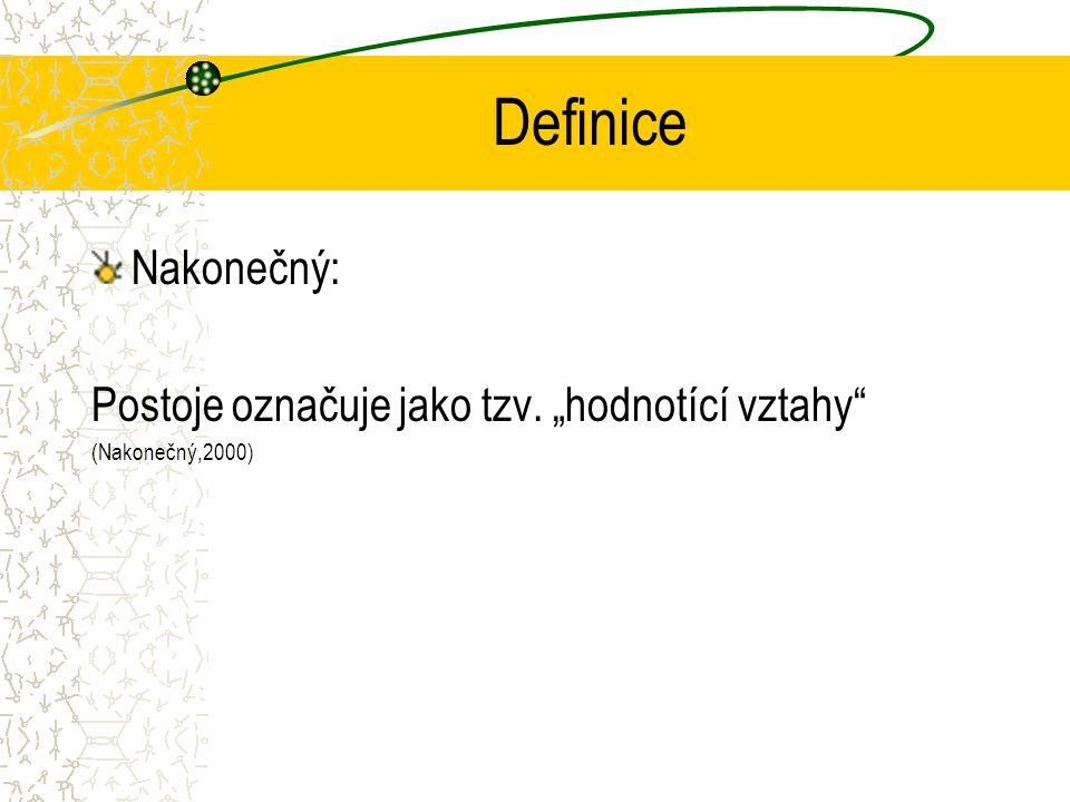 """Definice Nakonečný: Postoje označuje jako tzv. """"hodnotící vztahy"""