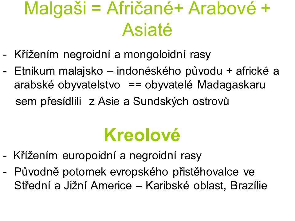 Malgaši = Afričané+ Arabové + Asiaté
