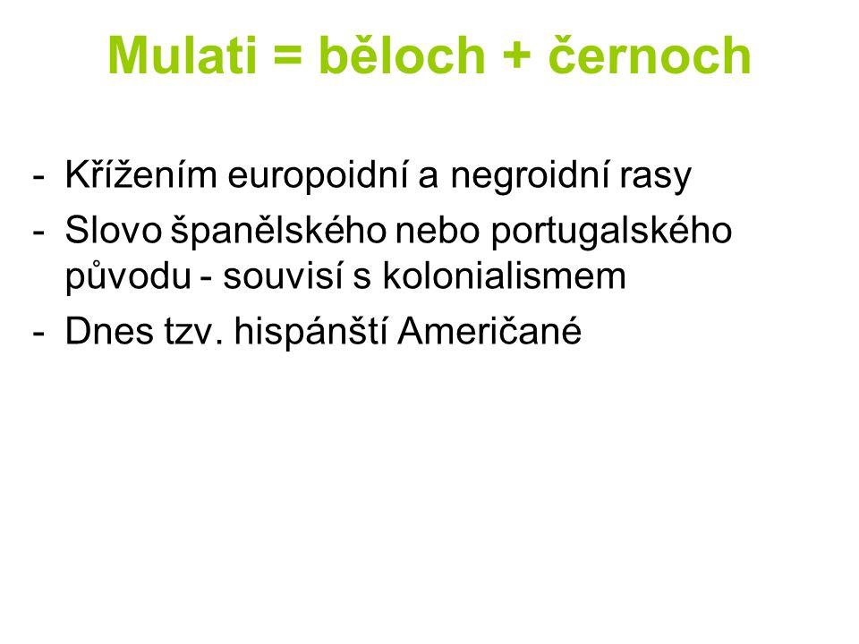 Mulati = běloch + černoch