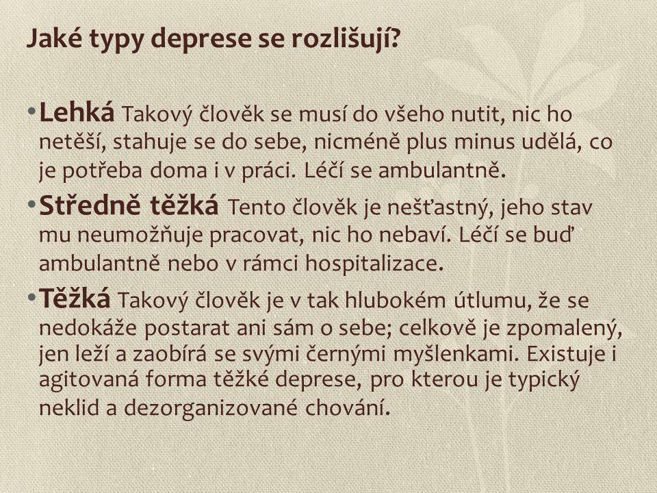 Jaké typy deprese se rozlišují