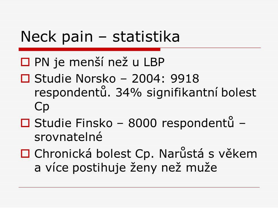 Neck pain – statistika PN je menší než u LBP