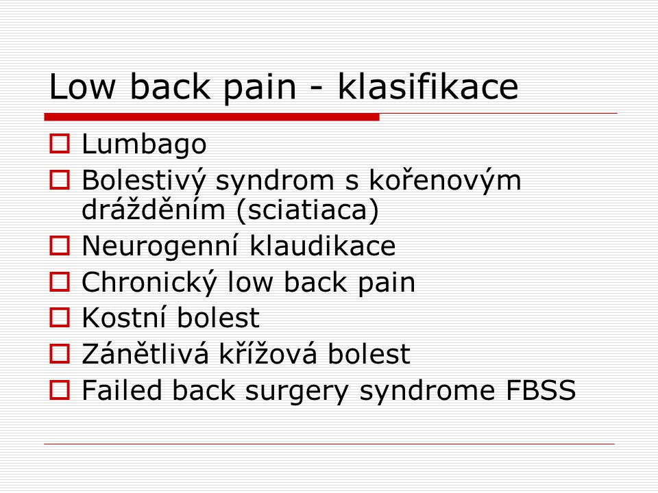 Low back pain - klasifikace