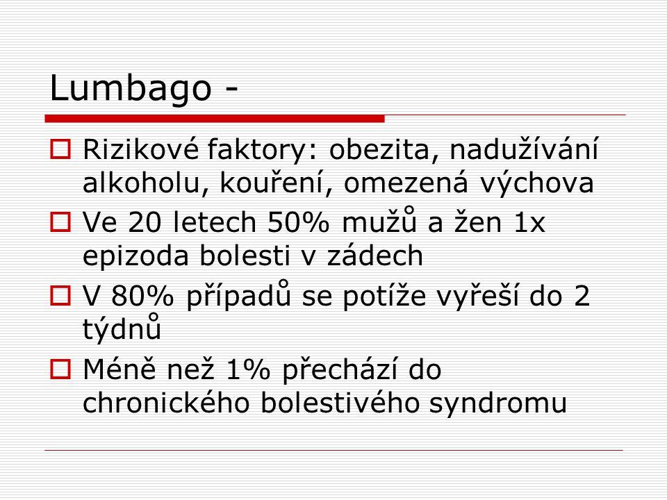 Lumbago - Rizikové faktory: obezita, nadužívání alkoholu, kouření, omezená výchova. Ve 20 letech 50% mužů a žen 1x epizoda bolesti v zádech.