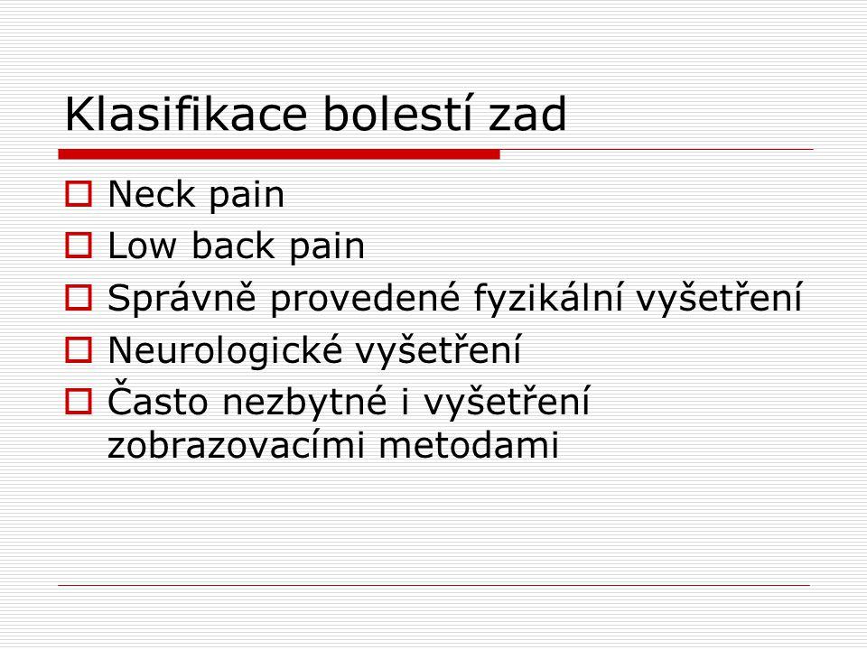 Klasifikace bolestí zad