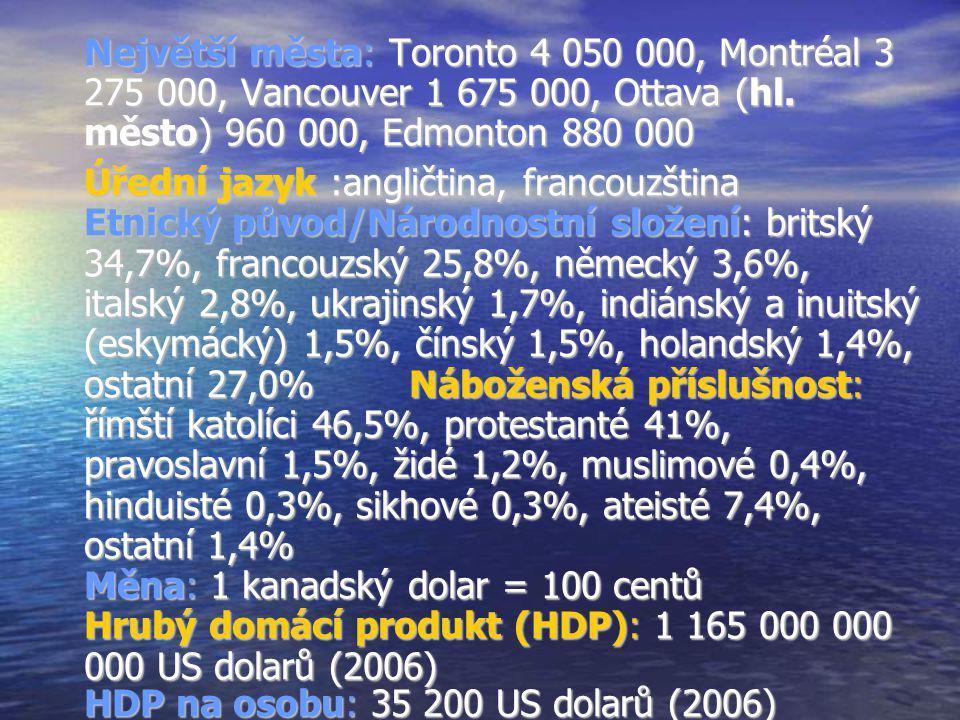 Největší města: Toronto 4 050 000, Montréal 3 275 000, Vancouver 1 675 000, Ottava (hl. město) 960 000, Edmonton 880 000