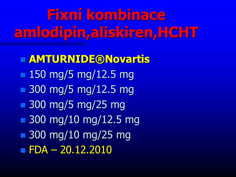 Fixní kombinace amlodipin,aliskiren,HCHT