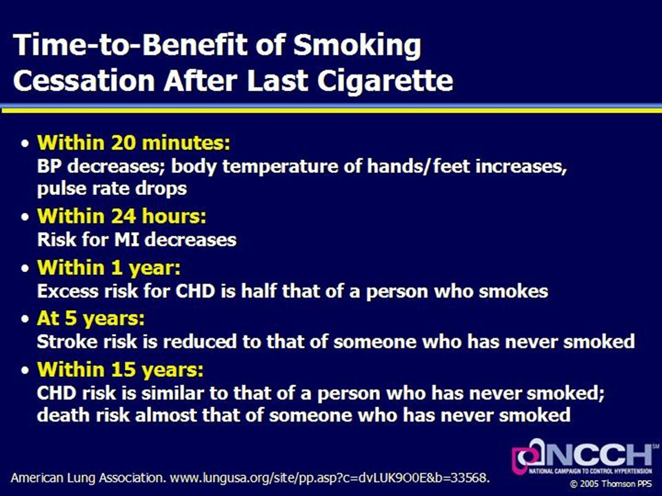 Salutary changes in the body begin within 20 minutes of smoking cessation, with benefits continuing over the long term.