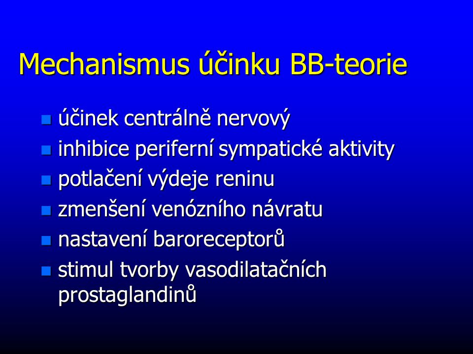Mechanismus účinku BB-teorie