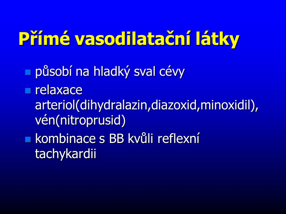 Přímé vasodilatační látky