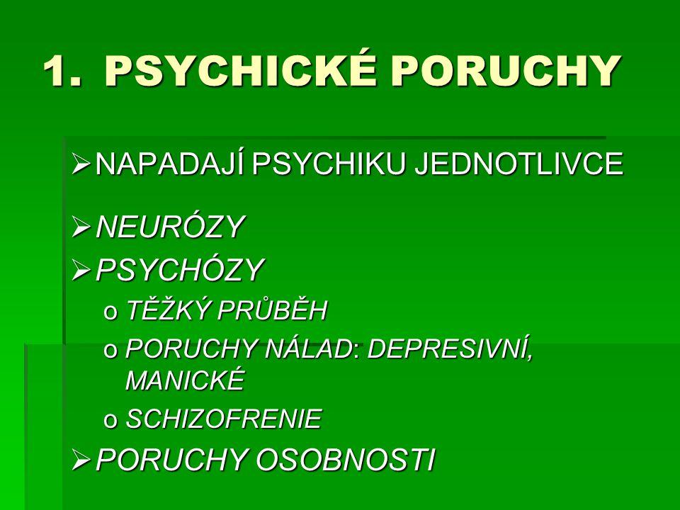 PSYCHICKÉ PORUCHY NAPADAJÍ PSYCHIKU JEDNOTLIVCE NEURÓZY PSYCHÓZY