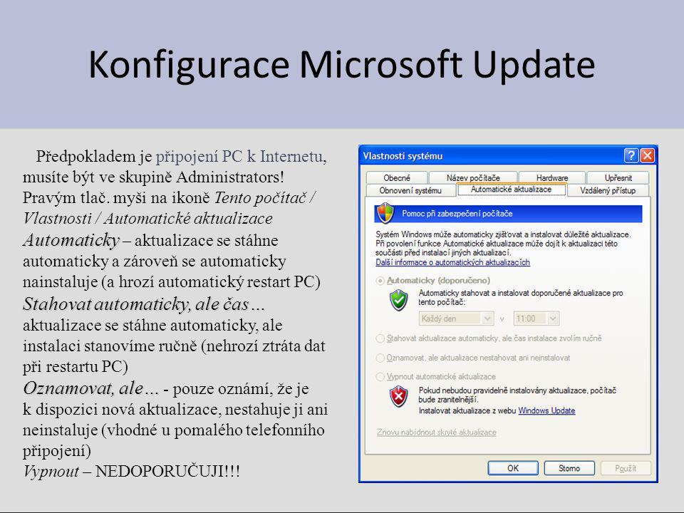 Konfigurace Microsoft Update