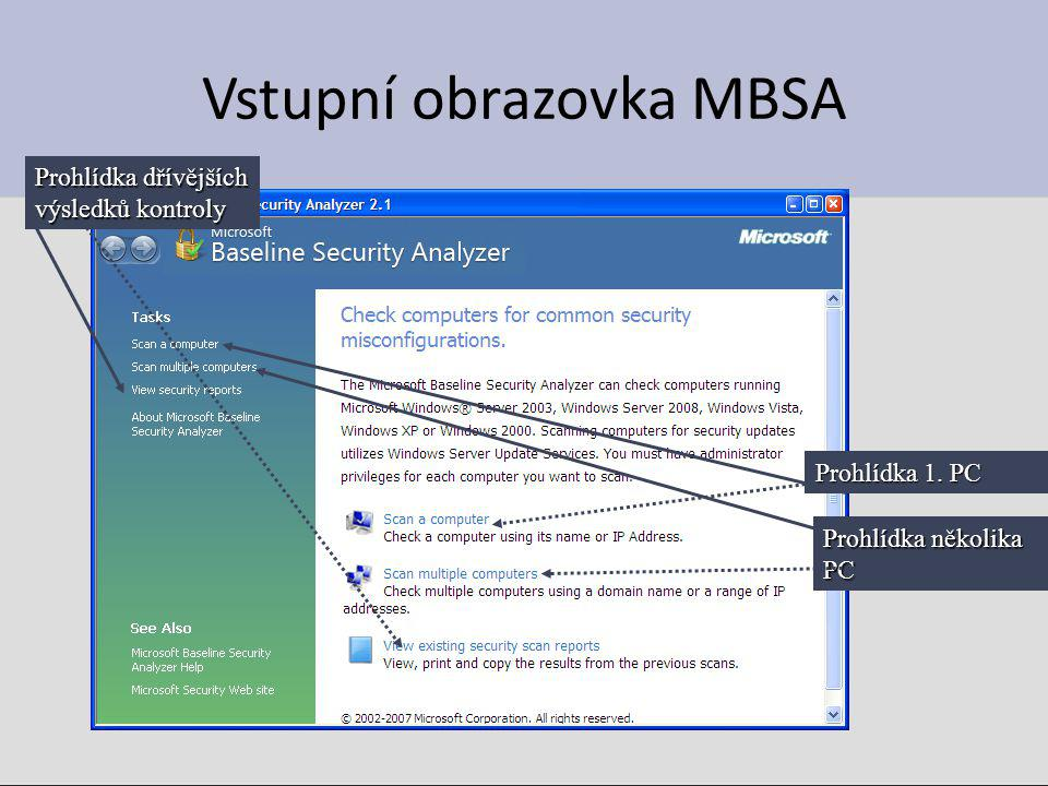 Vstupní obrazovka MBSA