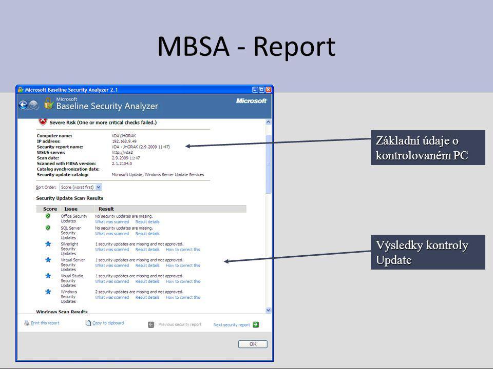 MBSA - Report Základní údaje o kontrolovaném PC