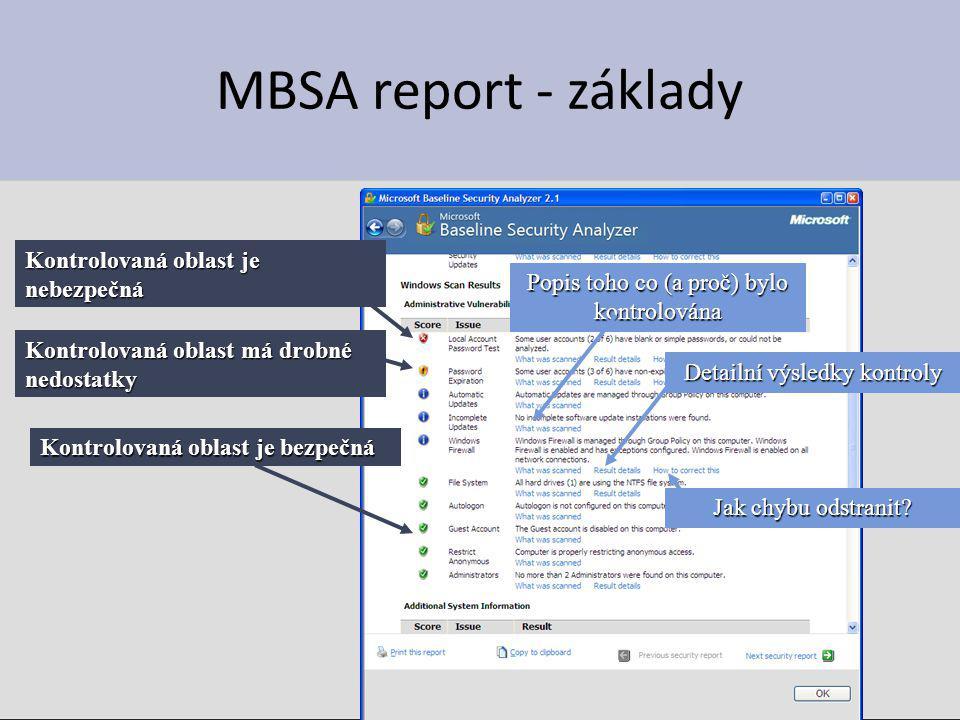 MBSA report - základy Kontrolovaná oblast je nebezpečná