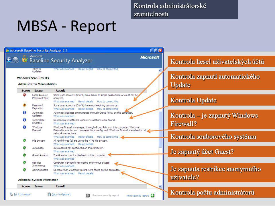 MBSA - Report Kontrola administrátorské zranitelnosti