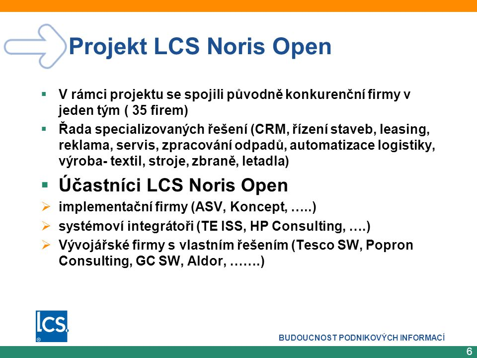 Projekt LCS Noris Open Účastníci LCS Noris Open
