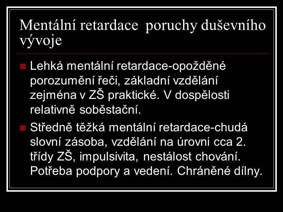 Mentální retardace poruchy duševního vývoje