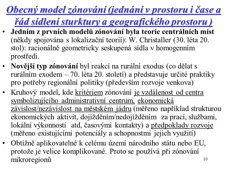 Obecný model zónování (jednání v prostoru i čase a řád sídlení sturktury a geografického prostoru )