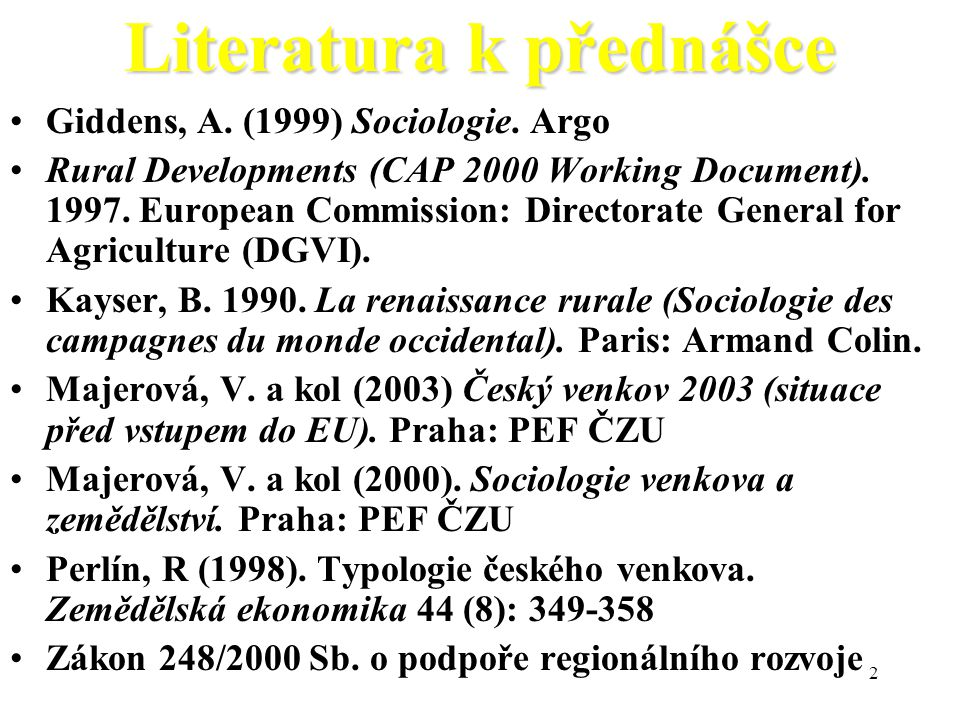 Literatura k přednášce