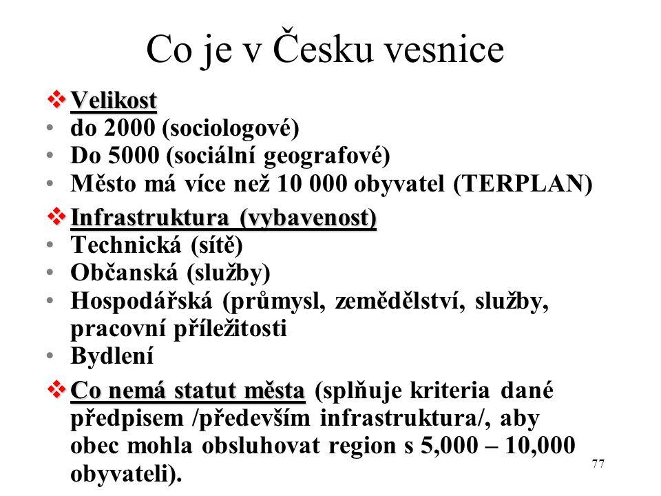 Co je v Česku vesnice Velikost do 2000 (sociologové)
