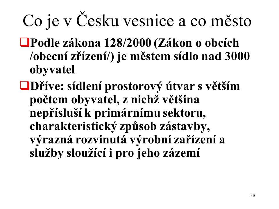 Co je v Česku vesnice a co město