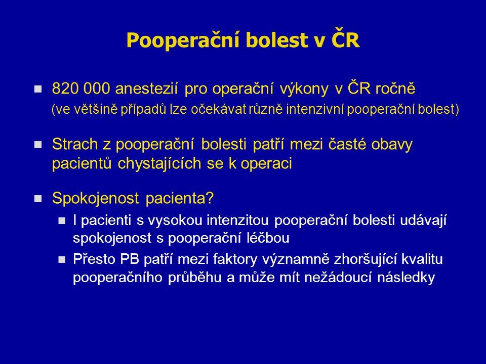 Pooperační bolest v ČR 820 000 anestezií pro operační výkony v ČR ročně. (ve většině případů lze očekávat různě intenzivní pooperační bolest)