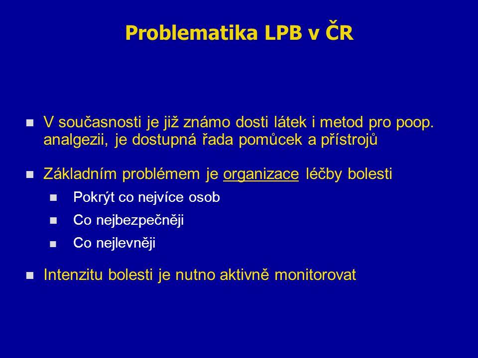 Problematika LPB v ČR V současnosti je již známo dosti látek i metod pro poop. analgezii, je dostupná řada pomůcek a přístrojů.