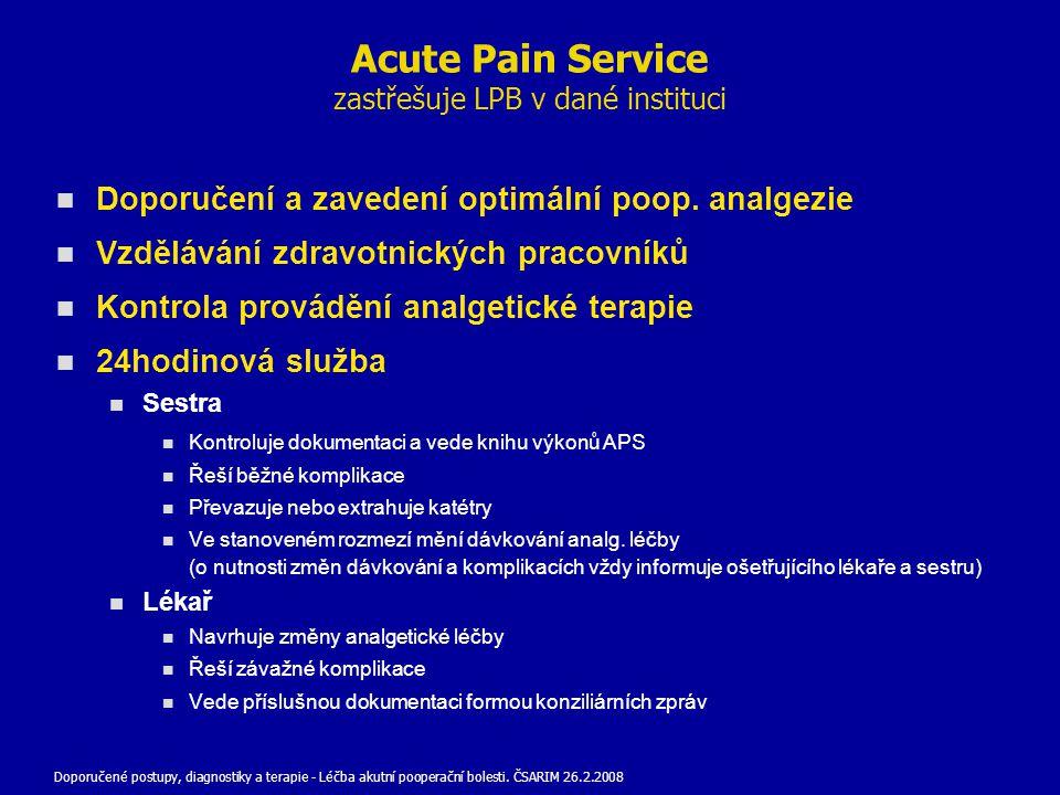 Acute Pain Service zastřešuje LPB v dané instituci