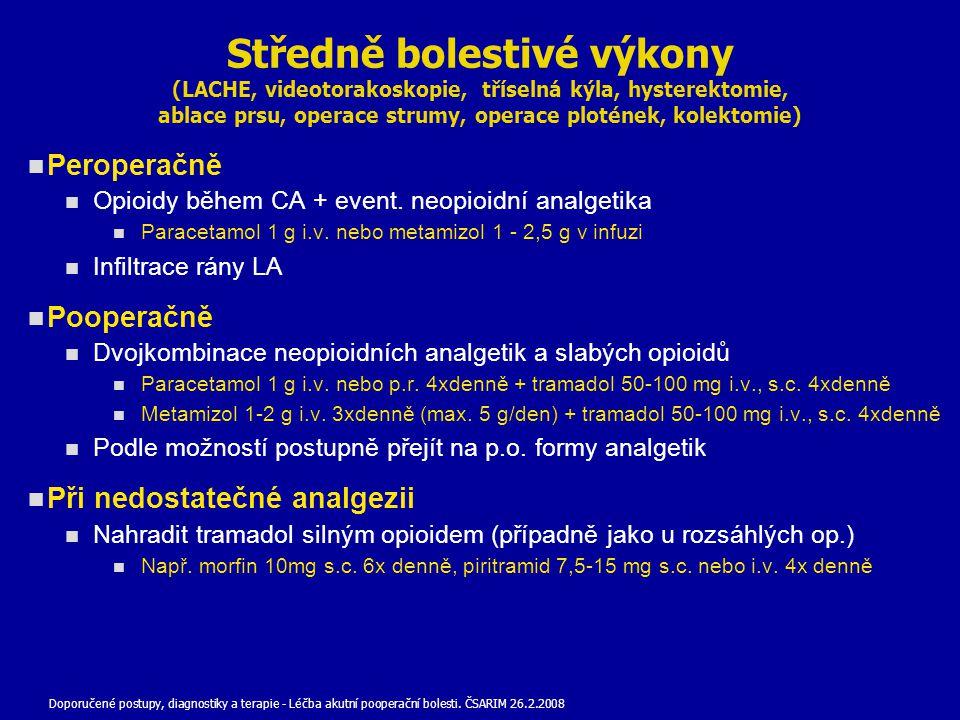 Středně bolestivé výkony (LACHE, videotorakoskopie, tříselná kýla, hysterektomie, ablace prsu, operace strumy, operace plotének, kolektomie)