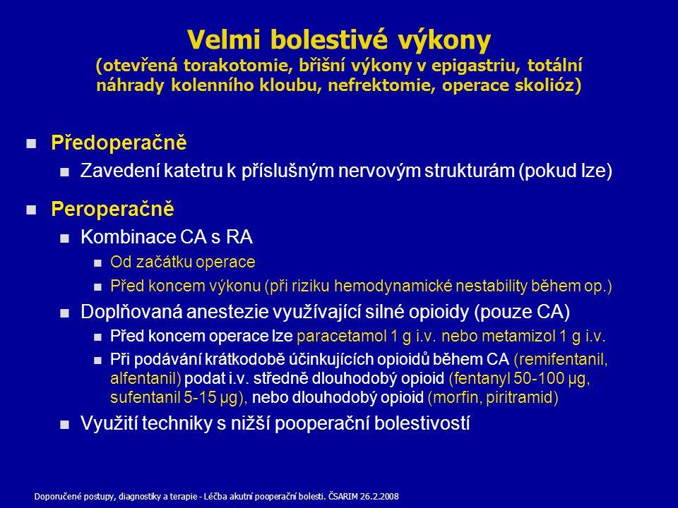 Velmi bolestivé výkony (otevřená torakotomie, břišní výkony v epigastriu, totální náhrady kolenního kloubu, nefrektomie, operace skolióz)