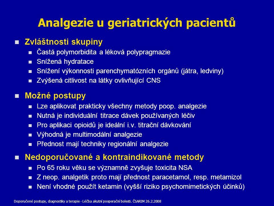 Analgezie u geriatrických pacientů