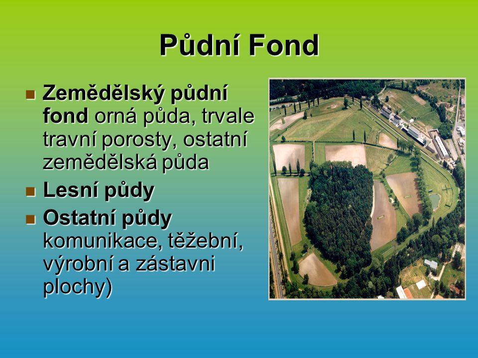 Půdní Fond Zemědělský půdní fond orná půda, trvale travní porosty, ostatní zemědělská půda. Lesní půdy.