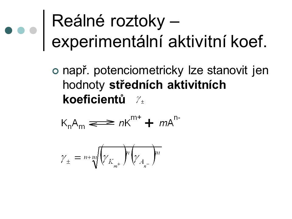 Reálné roztoky – experimentální aktivitní koef.