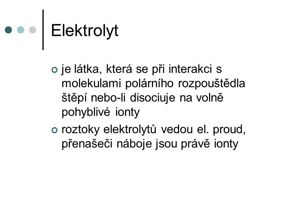 Elektrolyt je látka, která se při interakci s molekulami polárního rozpouštědla štěpí nebo-li disociuje na volně pohyblivé ionty.