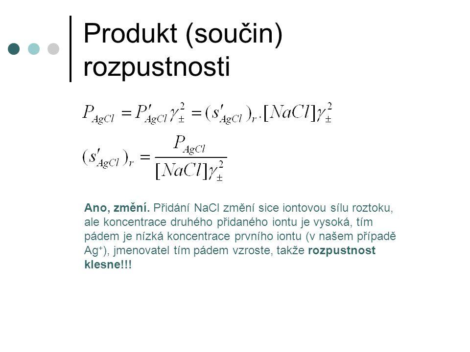 Produkt (součin) rozpustnosti