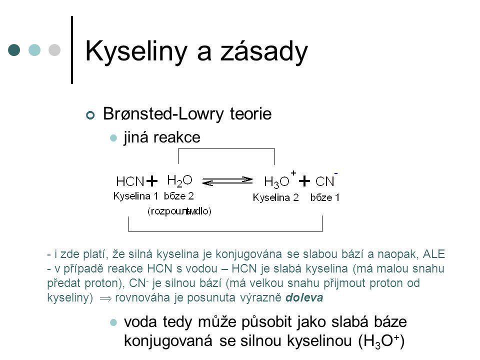 Kyseliny a zásady Brønsted-Lowry teorie jiná reakce