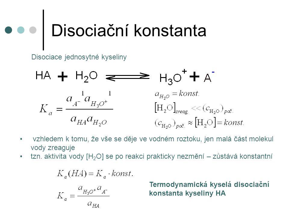 Disociační konstanta Disociace jednosytné kyseliny