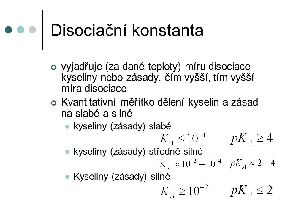 Disociační konstanta vyjadřuje (za dané teploty) míru disociace kyseliny nebo zásady, čím vyšší, tím vyšší míra disociace.