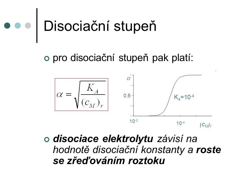Disociační stupeň pro disociační stupeň pak platí: