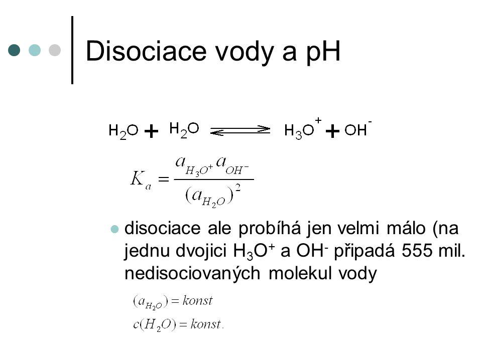 Disociace vody a pH disociace ale probíhá jen velmi málo (na jednu dvojici H3O+ a OH- připadá 555 mil.