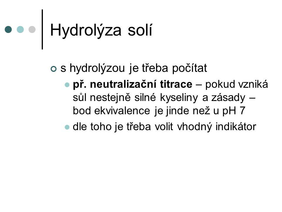 Hydrolýza solí s hydrolýzou je třeba počítat