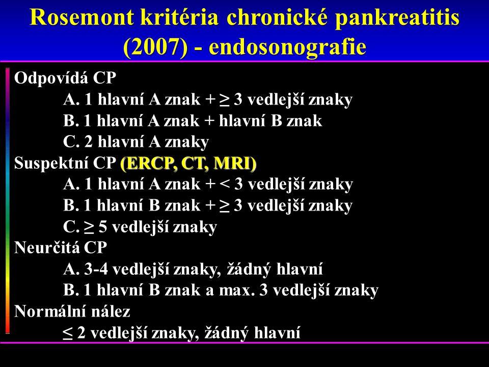 Rosemont kritéria chronické pankreatitis (2007) - endosonografie