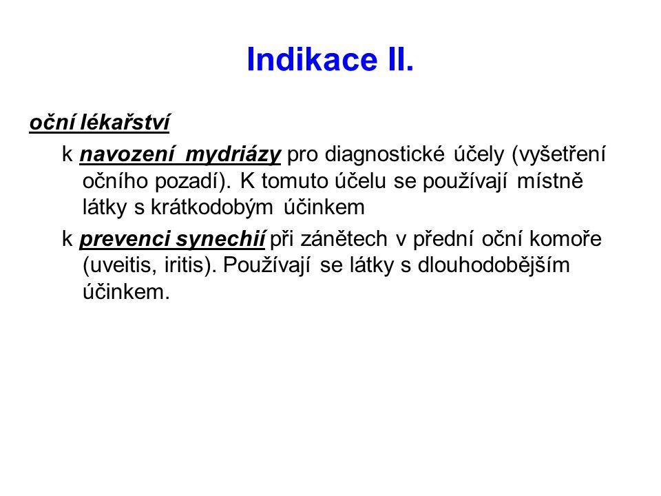 Indikace II. oční lékařství