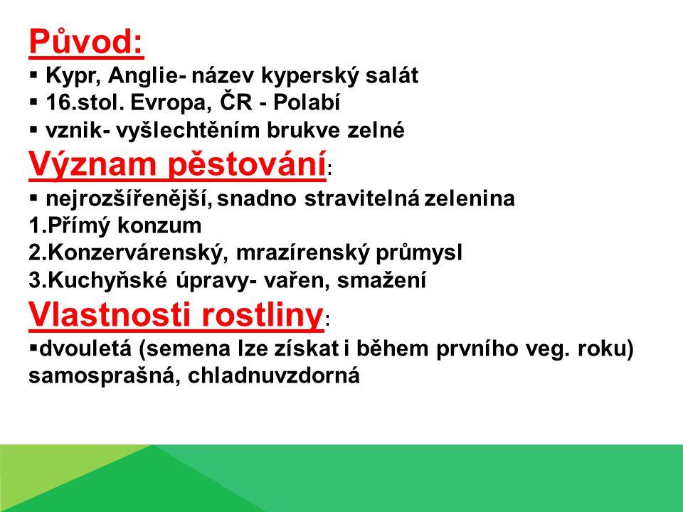 Původ: Význam pěstování: Vlastnosti rostliny: