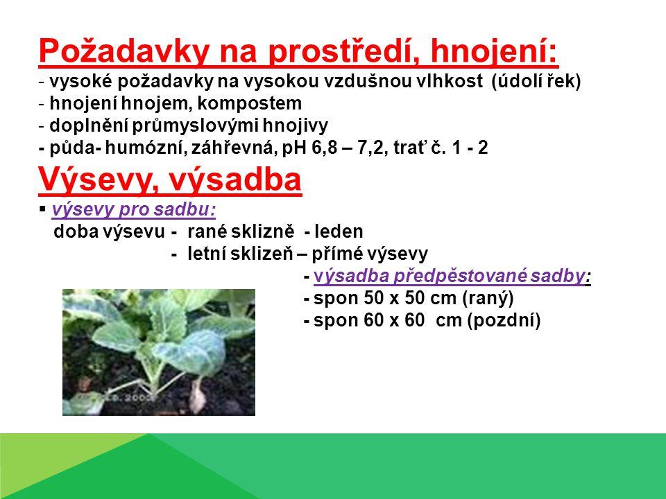 Požadavky na prostředí, hnojení: