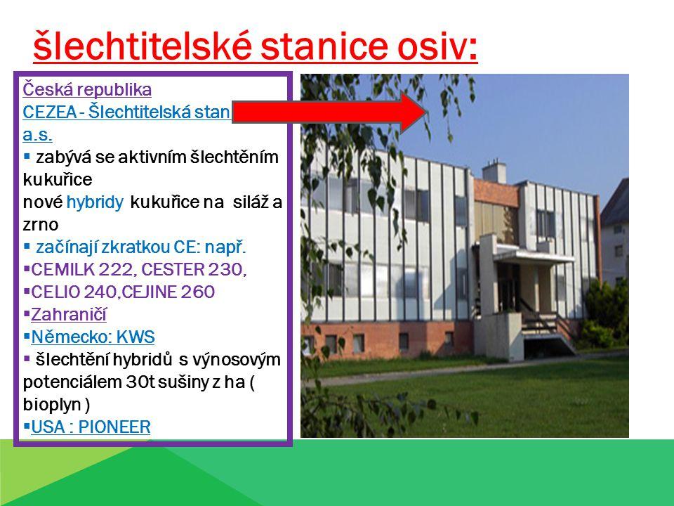 šlechtitelské stanice osiv: