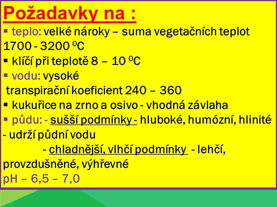 Požadavky na : teplo: velké nároky – suma vegetačních teplot 1700 - 3200 0C. klíčí při teplotě 8 – 10 0C.