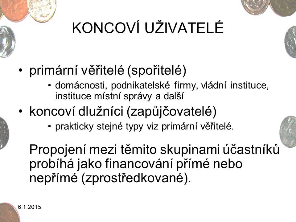 KONCOVÍ UŽIVATELÉ primární věřitelé (spořitelé)